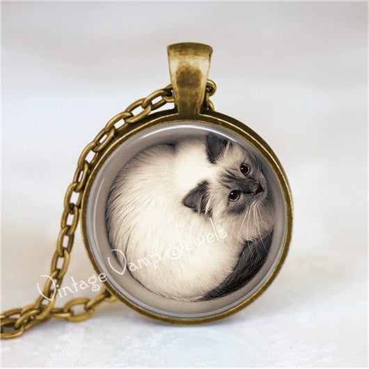 CAT Necklace, Cat Pendant, Cat Jewelry, Cat Charm, Glass Photo Art Necklace Pendant, Kitten, Kitten Necklace, Cute Cat, Cute Kitten