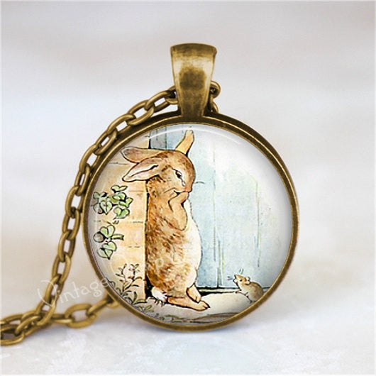 RABBIT  Necklace, Rabbit Jewelry, Rabbit Pendant, Rabbit Charm, Glass Bezel Art Pendant Necklace,  Photo Art Glass Necklace