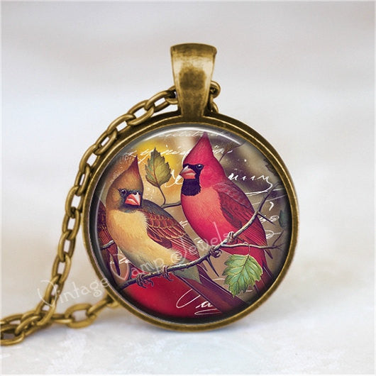 CARDINAL  Necklace,  Cardinal Jewelry, Cardinal  Pendant, Cardinal Charm, Red Bird, Glass Bezel Art Pendant Necklace