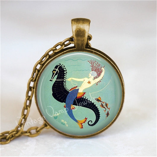 ART DECO MERMAID and Seahorse Necklace, Mermaid Jewelry, Mermaid Pendant, Mermaid Charm, Glass Photo Art Pendant Necklace