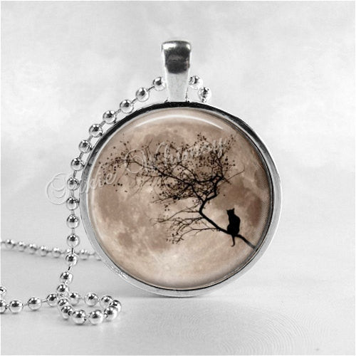 FULL MOON Necklace, Harvest Moon, Black Cat Necklace, Glass Photo Art Pendant, Spooky Tree, Halloween, Space, Galaxy, Outer Space, Astronomy