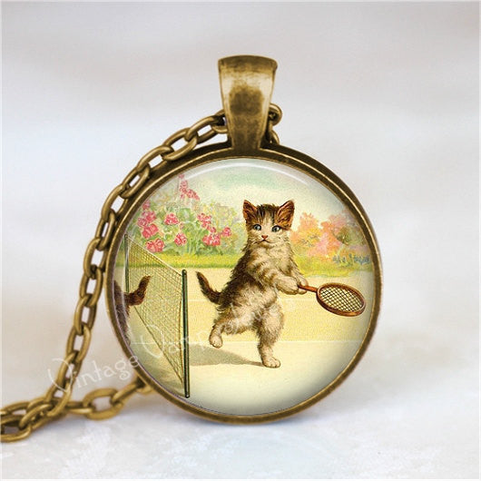 CAT PLAYING TENNIS Necklace, Kitten Necklace, Cat Jewelry, Cat Pendant, Cat Necklace, Tennis Jewelry, Glass Photo Art Pendant Necklace