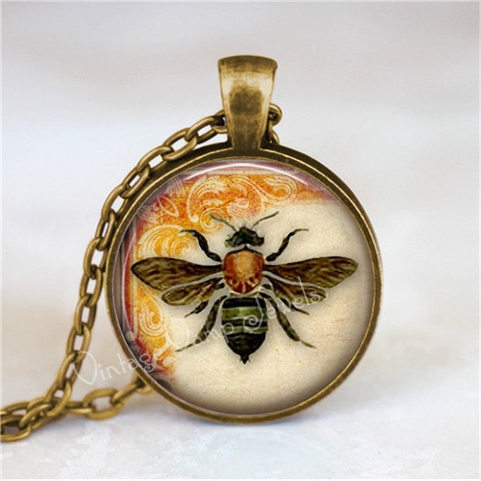 BEE Necklace, Bee Pendant, Bee Jewelry, Bee Charm, Glass Photo Art Necklace, Entomology,  Insect Jewelry, Beekeeping, Beekeeper, Apiary