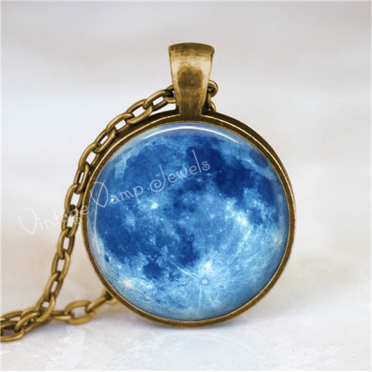 BLUE MOON Necklace, Full Moon Necklace, Moon Pendant, Moon Jewelry, Moon Necklace, Space, Galaxy, Planet, Glass Photo Art Pendant Necklace