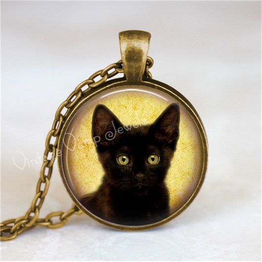 BLACK CAT Necklace, Peeking Cat, Kitten, Cat Jewelry, Cat Pendant, Cat Charm, Black Cat Jewelry, Glass Photo Art Pendant Necklace
