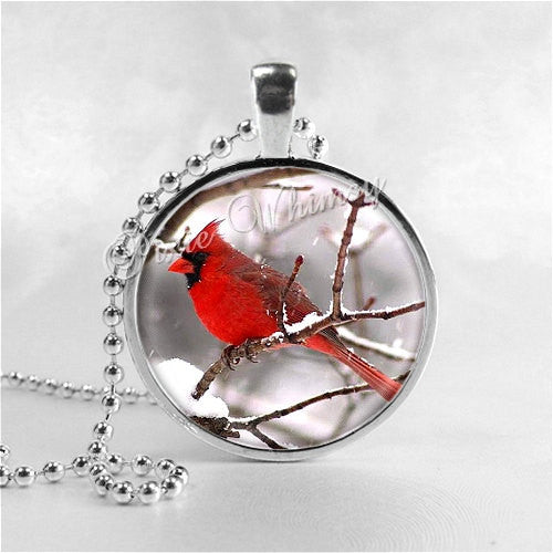 CARDINAL Pendant Necklace Red Bird Jewelry, Winter Bird Snow Scene, Cardinal Charm Glass Photo Art Necklace Woodland Jewelry