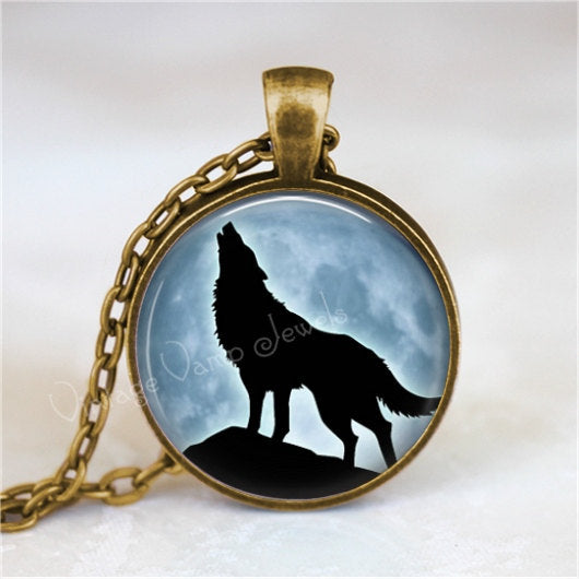 WOLF Pendant Necklace, Full Moon Necklace, Wolf Jewelry, Blue Moon Necklace, Glass Photo Art Pendant Necklace