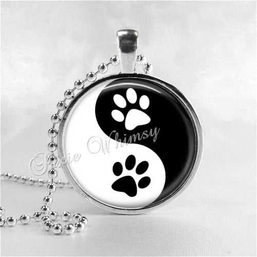 YIN YANG CAT Paw Necklace, Cat Necklace, Cat Jewelry, Cat Pendant, Cat Lover Gift, Yin Yang Necklace, Glass Photo Art Pendant Necklace