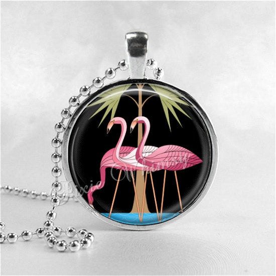 ART DECO FLAMINGO Necklace, Flamingo Pendant, Flamingo Jewelry, Art Deco Jewelry, Pink Flamingos, Bird Jewelry, VIntage Flamingo