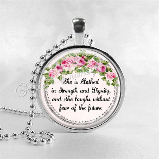 BIBLE VERSE Pendant Necklace, Proverbs 31:25, She Is Clothed In Strength, Christian Jewelry, Christian Gift, Religious Jewelry, Pink Roses