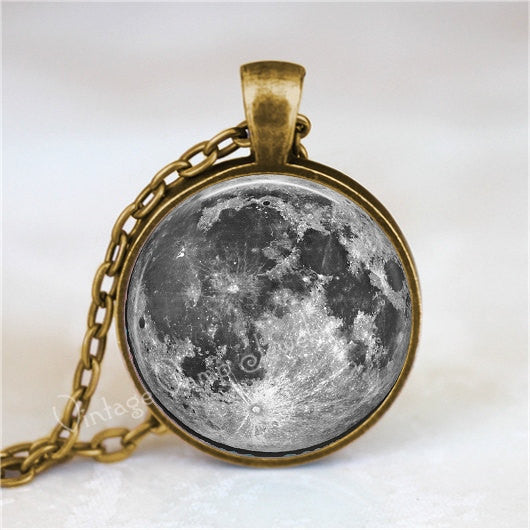 FULL  MOON Pendant, Full Moon Necklace, Moon Pendant, Moon Jewelry, Moon Necklace, Space, Galaxy, Planet, Glass Photo Art Pendant Necklace