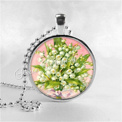 LILY Of The VALLEY Pendant, Lily of the Valley Necklace, Lily of the Valley, Glass Photo Art Pendant, Flower Pendant, Flower Necklace