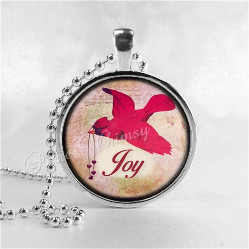CARDINAL Pendant, Cardinal Necklace, Cardinal Jewelry, Red Bird, Joy, Inspirational Word Necklace, Glass Photo Art Necklace, Cardinal Bird