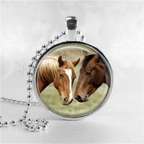 HORSE Necklace, Horse Pendant, Horse Jewelry, Horse Charm, Horses, Glass Photo Art Bezel Pendant Necklace, Equestrian, Horse Riding