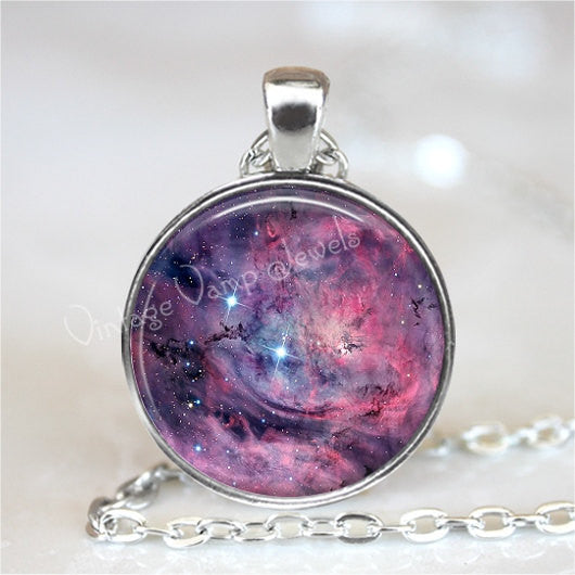 LAGOON NEBULA Necklace, Nebula Pendant, Outer Space, Galaxy, Planet, Universe, Constellation, Glass Photo Art Pendant Necklace