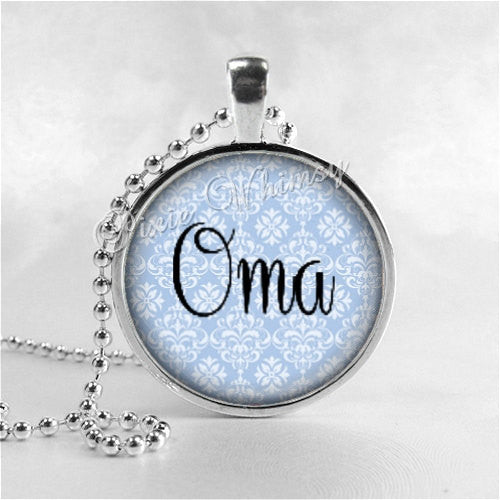 OMA Pendant, Oma Necklace, Oma, Grandma Necklace, Grammy, Nana, Grandmother, Granny, Glass Art Pendant, Mothers Day