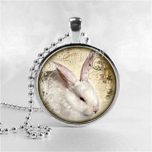 RABBIT Necklace, White Rabbit, Rabbit Pendant, Rabbit Jewelry, Rabbit Charm, Photo Art Glass Necklace Pendant Charm, Bunny