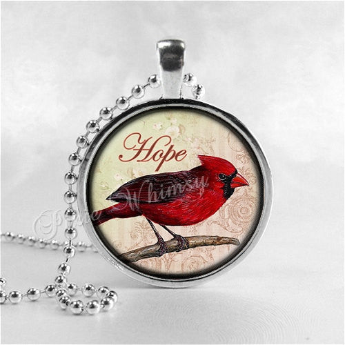 CARDINAL Necklace, Cardinal Bird Necklace, Cardinal Jewelry, Red Bird, Hope, Inspirational Word Necklace, Glass Photo Art Necklace, Red Bird