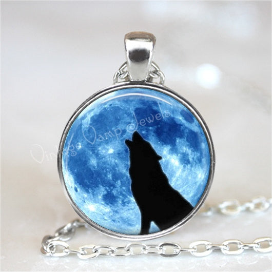 HOWLING WOLF Necklace, Full Moon Necklace, Wolf Necklace, Wolf Pendant, Wolf Jewelry, Blue Moon Necklace, Glass Photo Art Pendant Necklace