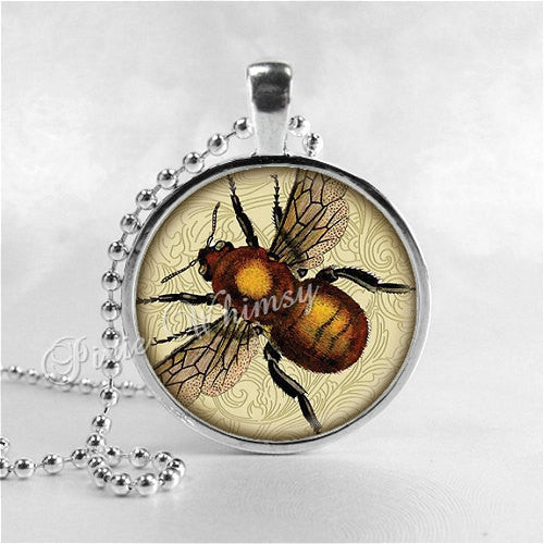 BEE Necklace, Bee Pendant, Honey Bee, Bee Jewelry, Queen Bee, Insect Jewelry, Bee Hive, Apiary, Beekeeping, Beekeeper, Bee Charm