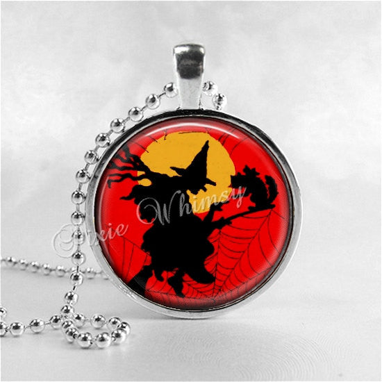 VINTAGE HALLOWEEN Necklace, Witch, Flying Witch, Vintage Witch, Witch Necklace, Black Cat, Full Moon, Glass Art Necklace, Halloween Jewelry