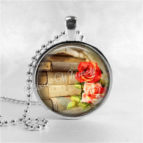BOOK and ROSE Necklace, Book Art Pendant, Book Jewelry, Book Charm, Read, Book Lover Jewelry, Book Nerd, Antique Books, Librarian, Library