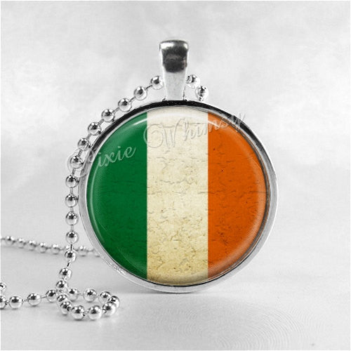 IRISH FLAG Necklace, St. Patrick's Day Necklace, Glass Photo Art Necklace, Ireland, Irish Pride Jewelry, Irish Luck, Lucky Charm