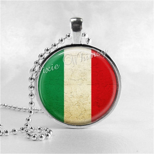 ITALY FLAG Necklace, Italian Flag Necklace, Glass Photo Art Necklace, Italy, Italian Pride Jewelry, Italy Flag Pendant, Italian Flag Pendant