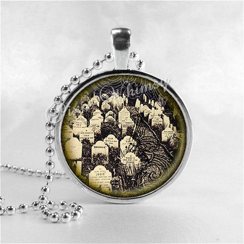 GRAVEYARD Necklace, Cemetery, Tombstone, Headstone, Burial Ground, Macabre, Halloween Necklace, Glass Photo Art Necklace, Gothic Jewelry