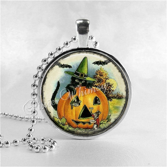 BLACK CAT Necklace,Pumpkin, Pumpkin Patch, JOL, Bats, Mice, Vintage Halloween, Halloween Jewelry, Pumpkin, Jack O Lantern, Halloween Pendant