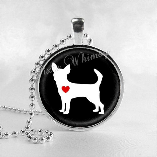 CHIHUAHUA Necklace, Chihuahua Love, Chihuahua Jewelry, Chihuahua Pendant, Chihuahua Charm, Love My Chihuahua, Glass Bezel Photo Art Necklace