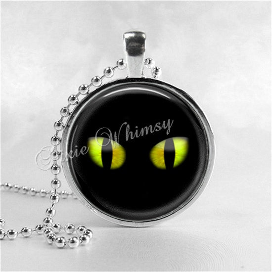 BLACK CAT Necklace, Halloween Necklace, Cat Eyes, Black Cat Pendant, Cat Jewelry, Glass Photo Art Necklace Pendant, Black Cat Jewelry