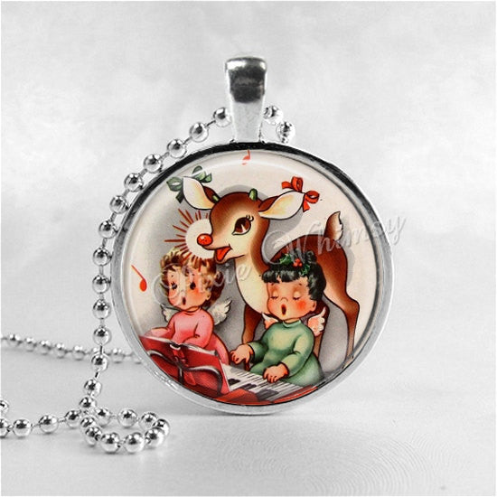 REINDEER Necklace, Angels, Christmas Necklace, Vintage Christmas, Retro Christmas, Christmas Jewelry, Rudolph, Christmas Jewelry