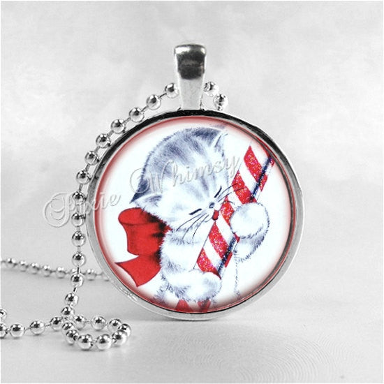CHRISTMAS CAT Necklace, Kitten Necklace, Candy Cane, Cat Pendant, Cat Jewelry, Cat Charm, Glass Photo Art Necklace, Christmas Jewelry