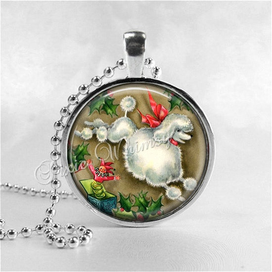POODLE Pendant Necklace, Poodle Dog Jewelry, Christmas Poodle, Holly, Dog Pendant Jewelry, Glass Art Necklace, Vintage Poodle Dog
