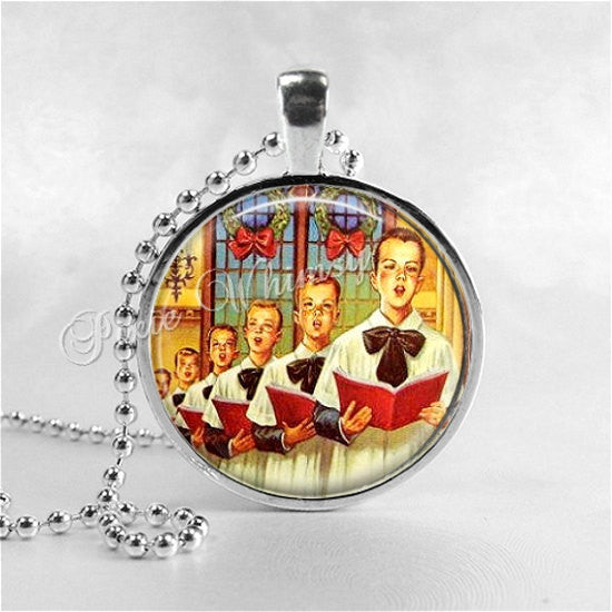 VINTAGE CHRISTMAS CHOIR Boys Necklace, Choir Boys, Church, Christmas Necklace, Christmas Jewelry, Vintage Christmas, Religious Necklace