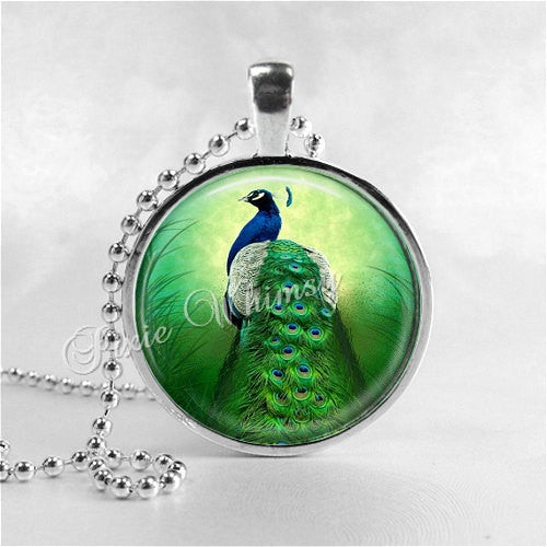 PEACOCK Necklace, Peacock Pendant, Peacock Jewelry, Bird Necklace, Photo Art Pendant Charm, Bird Necklace, Bird Pendant, Peacock Feather