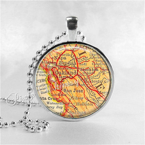 CALIFORNIA OAKLAND Napa San Jose Modesto Map Pendant, Vintage Map, California Pendant, California Necklace, Glass Photo Art Pendant