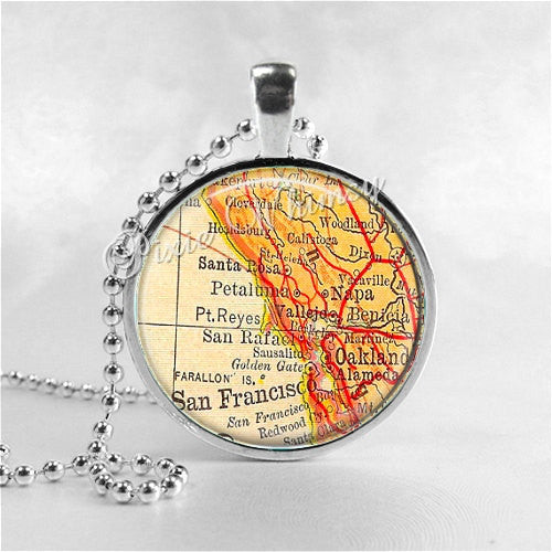 CALIFORNIA Map Pendant Necklace SAN FRANCISCO Napa Santa Rosa Oakland, Vintage Antique California Map Jewelry, California Souvenir