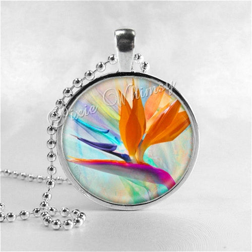 BIRD Of PARADISE Flower Necklace Art Pendant Jewelry with Ball Chain, Tropical Flower, Hawaiian Jewelry