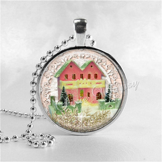 PINK CHRISTMAS HOUSE Necklace, Retro Christmas, Vintage Putz House, Christmas Village, Christmas Necklace, Vintage Christmas