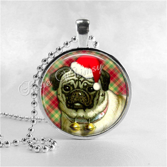 CHRISTMAS PUG Dog Necklace, Pug Dog Jewelry, Pug Jewelry, Pug Dog, Glass Photo Art Pendant Necklace, Christmas Dog Jewelry
