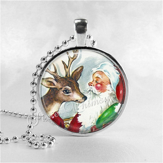 SANTA CLAUS Necklace, Retro Christmas, Reindeer, Deer, Santa, Santa Claus, Christmas Necklace, Christmas Jewelry, Vintage Christmas