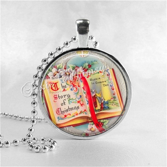 CHRISTMAS Necklace, Story of Christmas Book, Christmas Story, Christmas Pendant, Christmas Jewelry, Vintage Christmas, Retro Christmas