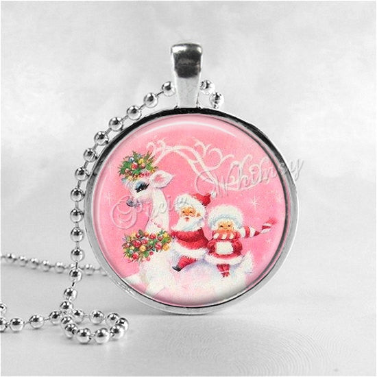 VINTAGE SANTA and REINDEER Necklace, Pink Christmas, Vintage Christmas, Holiday Necklace, Christmas Jewelry, Christmas Jewelry, Retro,Kitsch