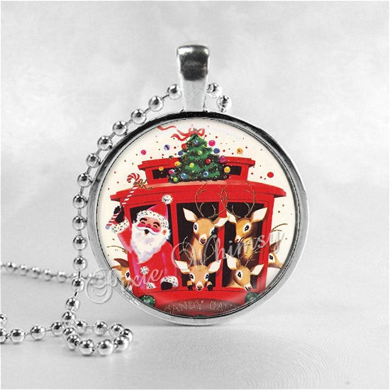 SANTA CLAUS Necklace, Retro Christmas, Christmas Pendant, Santa, Christmas Kitsch, Santa Claus, Christmas Necklace, Vintage Christmas