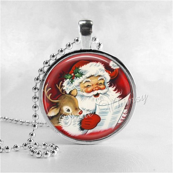 SANTA CLAUS Necklace, Retro Christmas, Rudolph Reindeer, Deer, Santa, Santa Claus, Christmas Necklace, Christmas Jewelry, Vintage Christmas