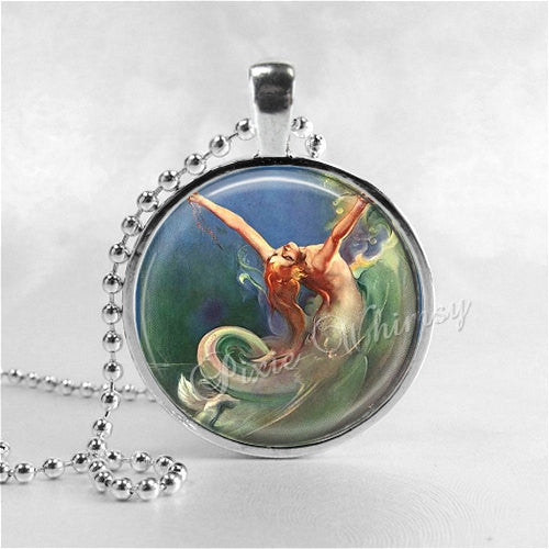 ART NOUVEAU MERMAID, Mermaid Necklace, Mermaid Pendant, Mermaid Jewelry,  Glass Photo Art Pendant Charm Jewelry