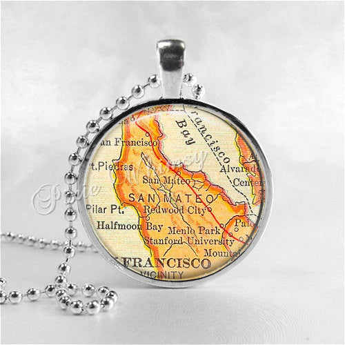 CALIFORNIA SAN FRANCISCO Bay Map Necklace, San Mateo, Stanford, Menlo Park, Vintage Map, California Pendant, Glass Photo Art Pendant
