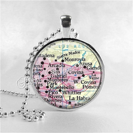 CALIFORNIA MAP Pendant Necklace, San Gabriel, Monrovia, Azusa, Covina, Arcadia, Los Angeles Area, Map Photo Art Vintage Map, California Map